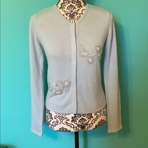 Free People Button Down Cardigan Light Blue Floral
